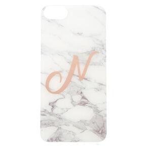 Marbled N Initial Phone Case,