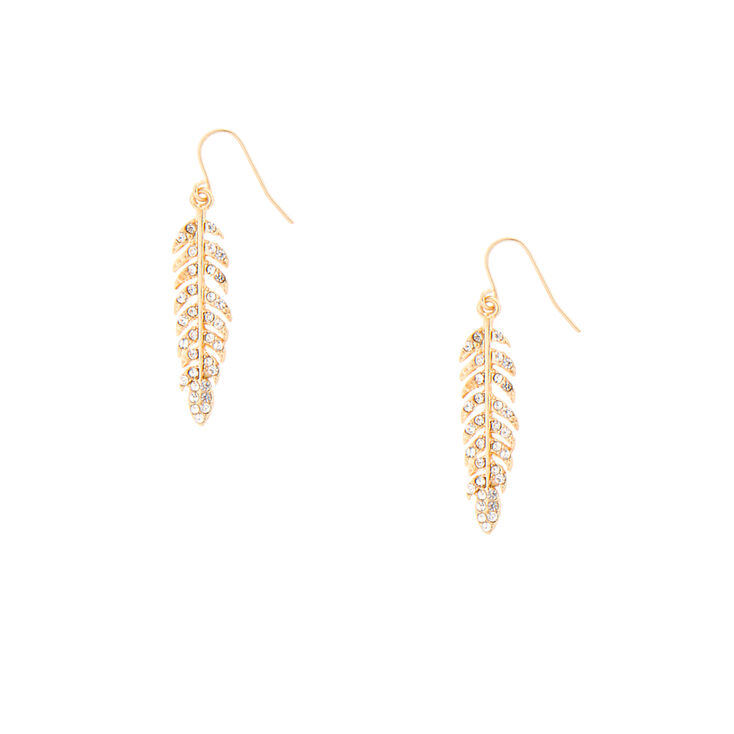 Gold and Crystal Feather Drop Earrings,
