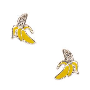 925 Sterling Silver Banana Crystal Earrings,