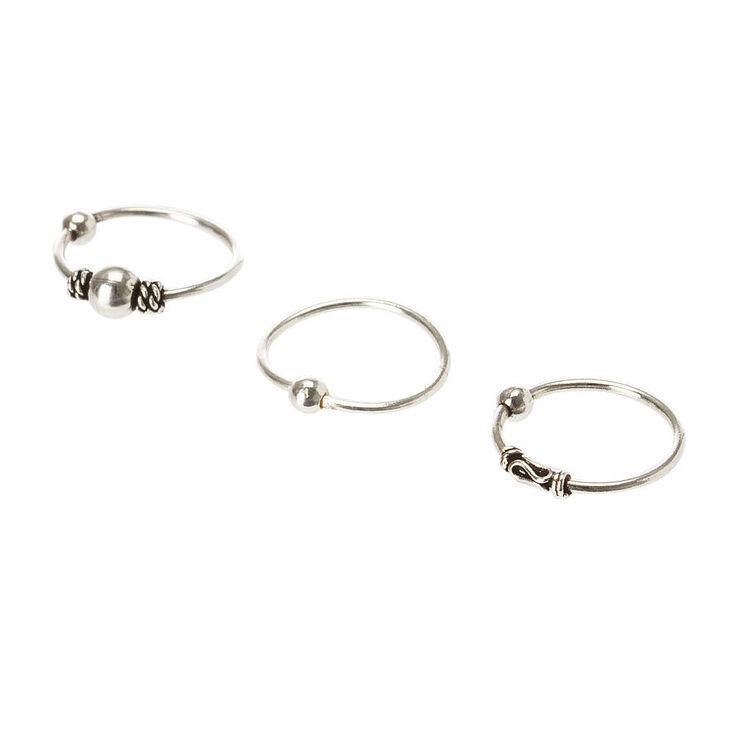 Sterling Silver Bead Cartilage Hoop Earring Set,