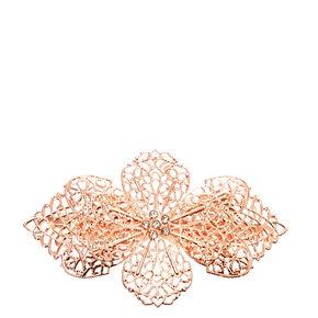Rose Gold Filigree Flower Hair Clip,