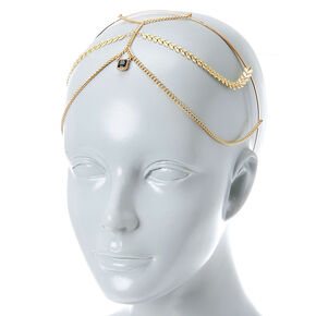 Gold Headband with Leaf Chain Fringe,