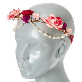 Pearl Pink Tones Flower Crown Headwrap,