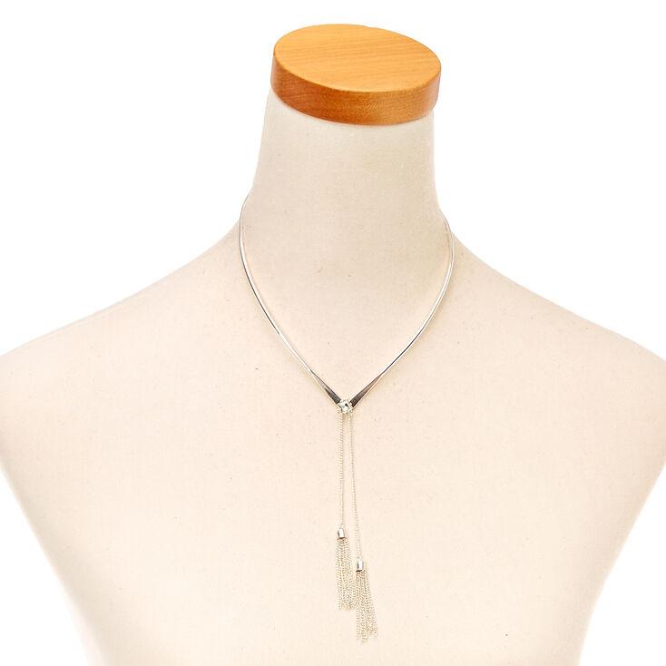 Silver Tassel Collar Necklace,