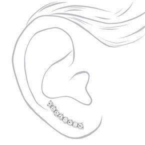 Silver-tone Curved Faux Crystal Bar Ear Crawler,