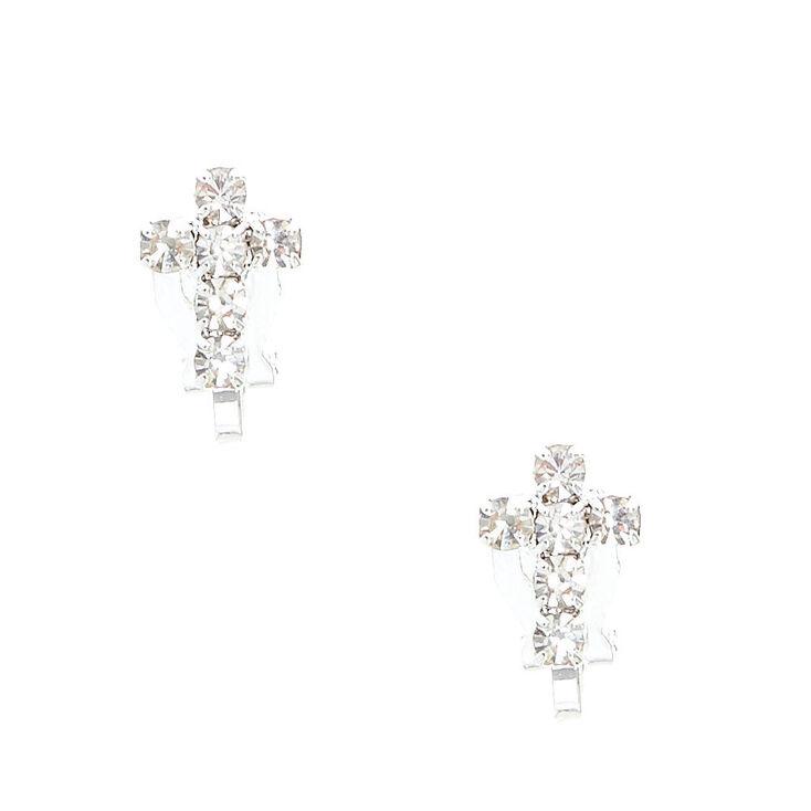 Silver-tone Faux Crystal Lined Cross Clip-on Stud Earrings,