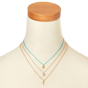 3 Pack Sun, Moon, and Opal Pendant Necklaces,