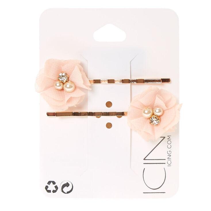 Blush Chiffon Flowers Rose Gold Bobby Pins,