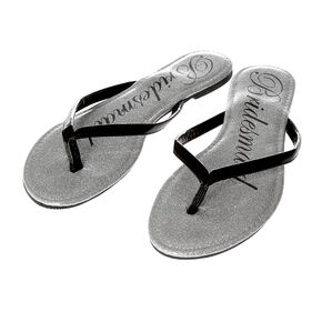 Black Faux Patent Leather and Silver Glitter Bridesmaid Flip Flops,