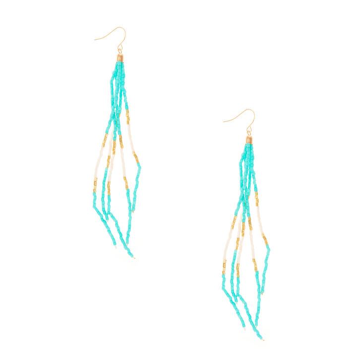 Turquoise Long Bead Tassel Drop Earrings,