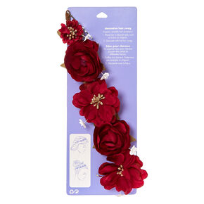 Burgundy And Gold Decorative Flower Hair Swag,