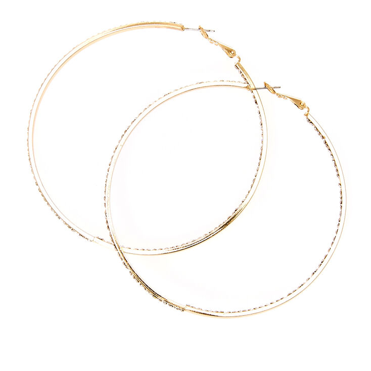 Gold-tone Inner and Outer Crystal Lined Hoop Earrings at Icing in Victor, NY | Tuggl
