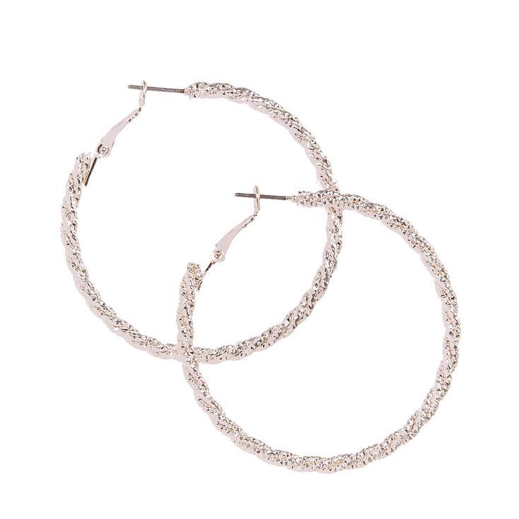 Silver-tone Textured Roped Hoop Earrings,