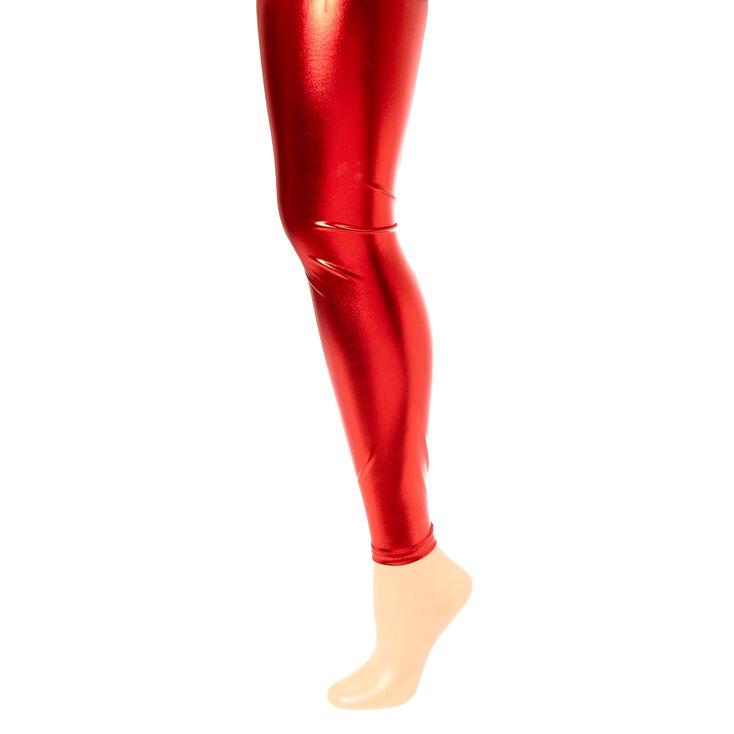 Metallic Red Santa Leggings,