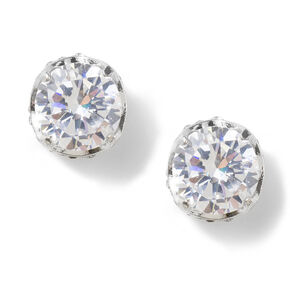 10MM Cubic Zirconia Round Titanic Set Stud Earrings,