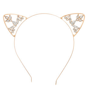 Rose Gold Crystal Cat Ears Headband,