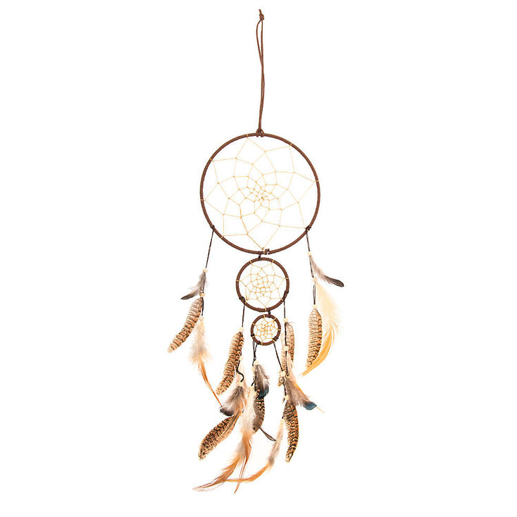 Brown Faux Suede Layered Dream Catchers with Natural Feathers Wall Hanging,