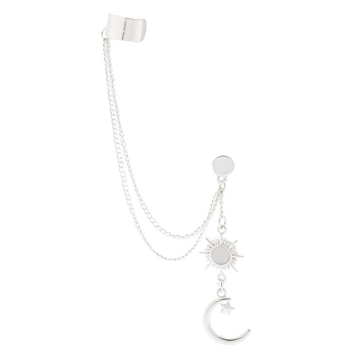 Silver-tone Celestial Chain Ear Cuff and Drop Earring Set,