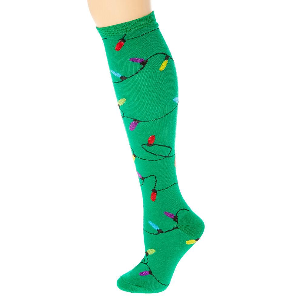 Christmas Lights Knee High Socks | Claire's