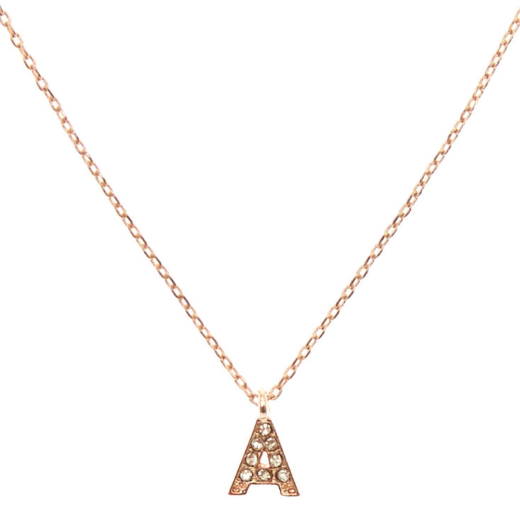 Rose Gold-Tone A Initial Pendant Necklace,