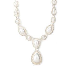 Rhinestone Framed Pearl Teardrops Statement Necklace,