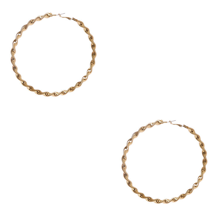 100mm Twisted Roped Gold-tone Hoop Earrings,