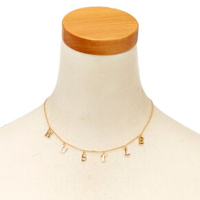 Gold-Tone HUSTLE Text Necklace,