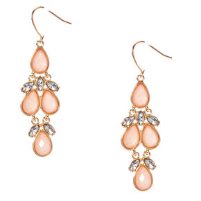 Gold-Tone and Blush Gem Dangle Earrings,