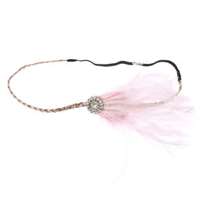 Pink Feather Flapper Headband,