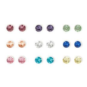 Bezel Set Pastel Crystal Stud Earrings Set of 9,
