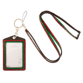 Red & Green Bedazzled Lanyard,