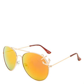 Gold and Red Aviator Sunglasses,