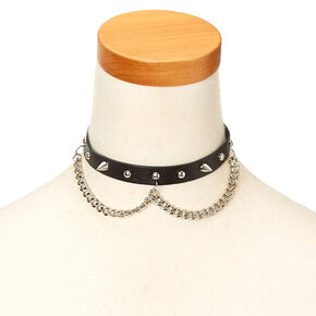 Black Faux Leather and Stud Choker Necklace,