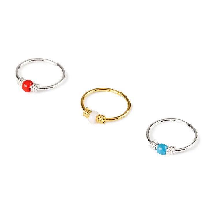 22G Sterling Silver Seed Bead Cartilage Hoop Earrings Set of 3,