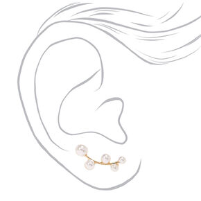 White Faux Pearl  Cluster Gold-tone Ear Crawler,