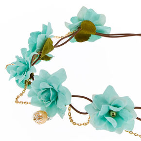 Mint Green Flower and Gold Faux Pearl Hair Garland,