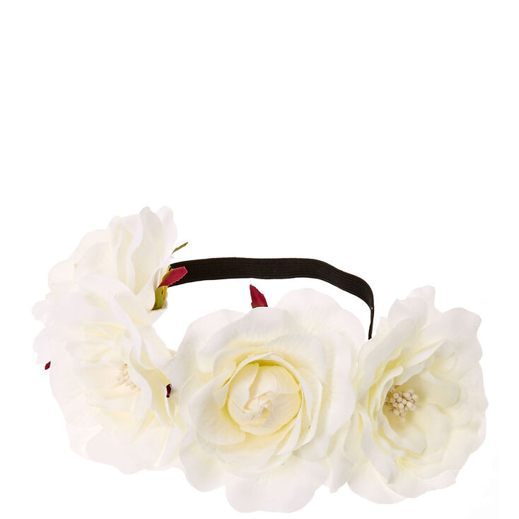White Floral Stretch Flower Crown,
