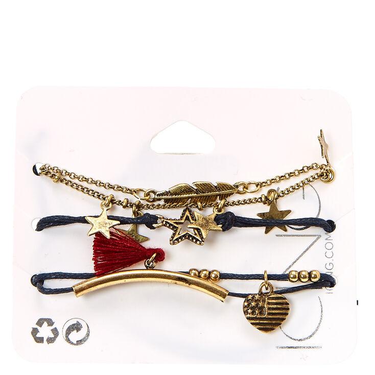 Burnished Gold-tone Americana Charm Cord Bracelets,