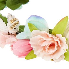 Pink Flower and Seashells Hair Garland,