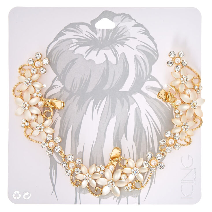 Frosted Crystal Flower Gold-tone Hair Swag,