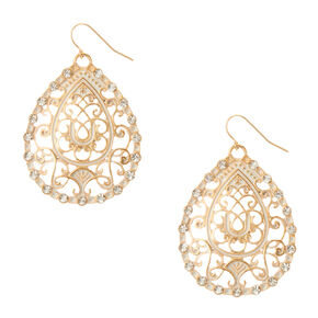 White and Gold Filigree Crystal Teardrop Earrings,
