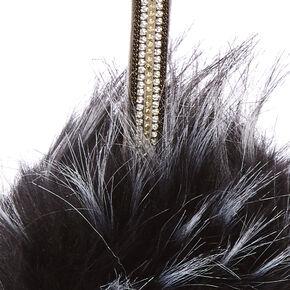 Black Faux Fur Pom Pom Keychain,
