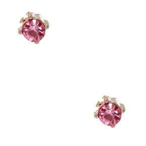 Silver-tone Framed Pink Faux Crystal Stud Earrings,