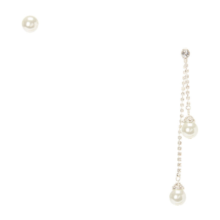Pearl Mismatched Front Back and Stud Earrings,