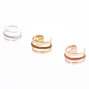 Mixed Metal Triple Glitter Bar Ear Cuffs,