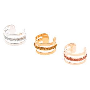 Mixed Metal Triple Glitter Bar Ear Cuffs,