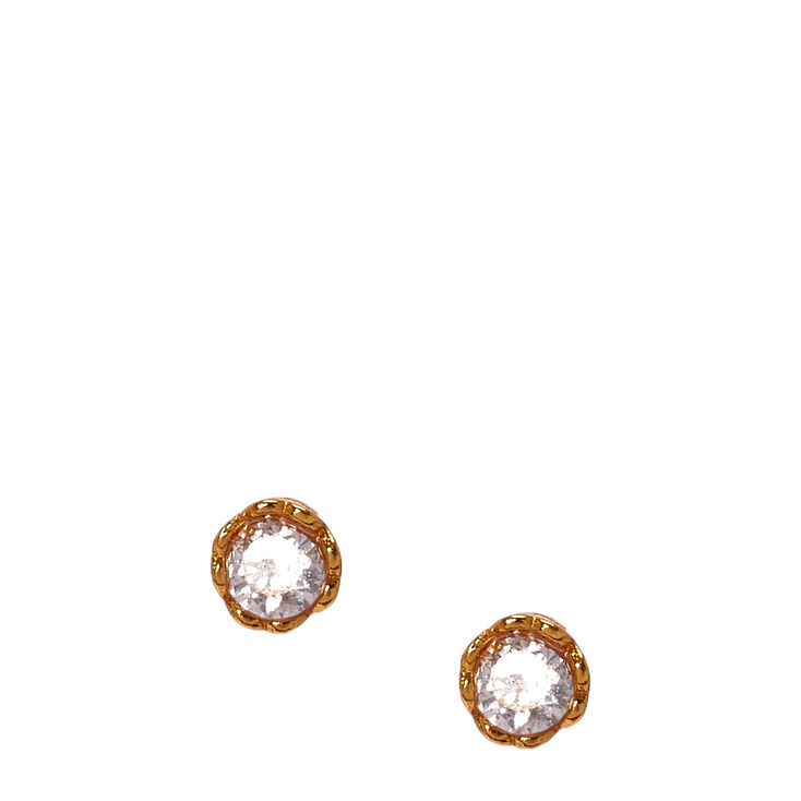 97ae4c8294cd 3MM Gold Plated Cubic Zirconia Heart Set Earrings