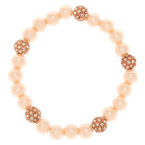 Blush Fireball and Pearl Bead Stretch Bracelet,