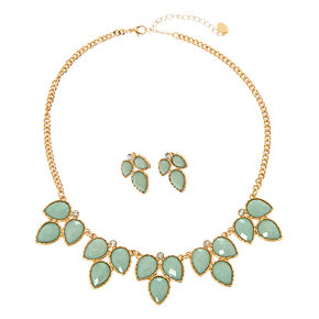 3 Leaf Mint Enamel Gem Necklace and Earrings Set,