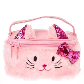 Kids Plush Pink Kitty Cat Train Cosmetics Case,